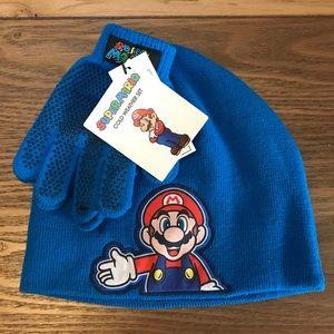 NWT Super Mario Bros Winter Beanie Hat & Gloves